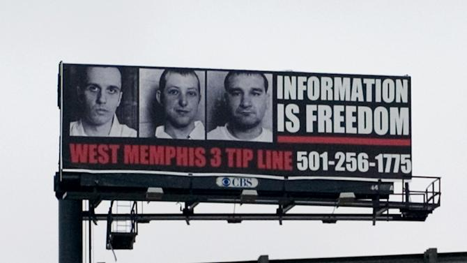 """This undated publicity photo released by Sony Pictures Classics shows a billboard for the West Memphis 3 tip line from the documentary film, """"West of Memphis."""" (AP Photo/Sony Pictures Classics, Olivia Fougeirol)"""