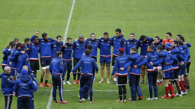 France's rugby team players train during the Captain's run at the Stade de France in Saint-Denis near Paris