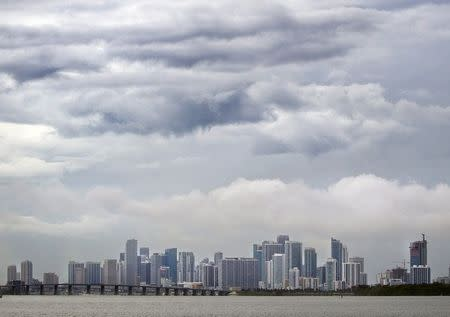 File photo of the Miami skyline, pictured from a causeway on a rainy day in Miami