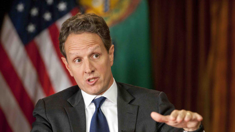 "In this Nov. 30, 2012, photo provided by CBS News Treasury Secretary Timothy Geithner answers questions about averting the ""fiscal cliff"" on an episode of  ""Face the Nation"" on Sunday, Dec. 2, 2012  Geithner said Republicans have to stop using fuzzy ""political math"" and say how much they are willing to raise tax rates on the wealthiest 2 percent of Americans and then specify the spending cuts they want. (AP Photo/CBS News, Chris Usher)"