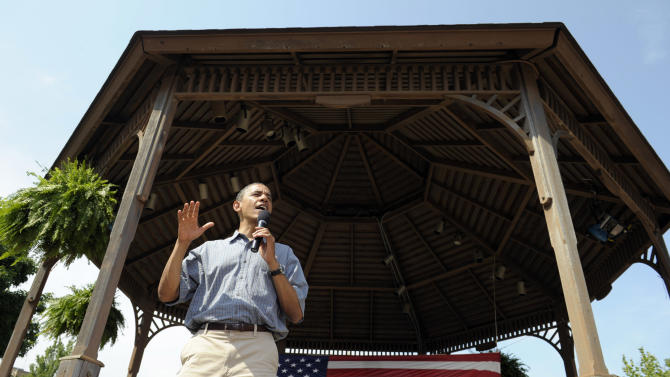 President Barack Obama speaks at an ice cream social at Washington Park in Sandusky Ohio, Thursday, July 5, 2012. Obama is on a two-day bus trip through Ohio and Pennsylvania. (AP Photo/Susan Walsh)