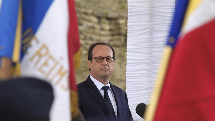 French President Hollande delivers a speech during his visit to the fort of la Pompelle, outside Reims