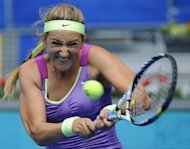 Belarussian Victoria Azarenka returns a ball to Poland's Agnieszka Radwanska during their semi-final at the Madrid Masters on May 12, 2012. Azarenka won 6-2, 6-4. Azarenka booked her place in a second straight final at the Madrid Masters after stretching her 2012 winning streak over Agnieszka Radwanska to six matches this season with a 6-2, 6-4 victory on Saturday
