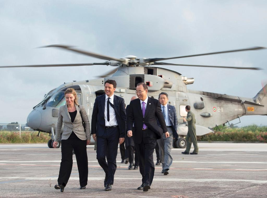 UN chief, Italy PM, EU's Mogherini visit navy ship in 'sea of misery'