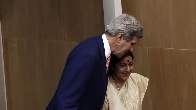 U.S. Secretary of State Kerry and India's External Affairs Minister Swaraj arrive to address a joint news conference New Delhi