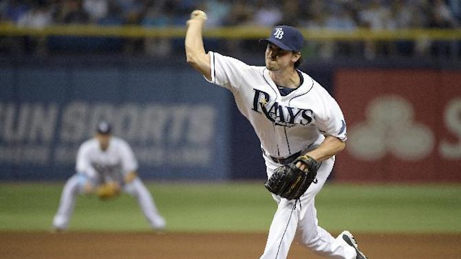 Tampa Bay Rays pitcher Brandon Gomes throws a pitch during the fifth inning of a baseball game against the Toronto Blue Jays in St. Petersburg, Fla., Saturday, April 25, 2015.(AP Photo/Phelan M. Ebenhack)