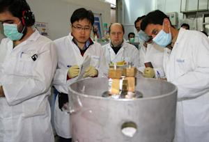 Unidentified IAEA inspectors and Iranian technicians …