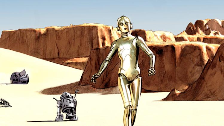 "This comic book image provided by Dark Horse Comics shows characters C-3PO, right, and R2-D2 from ""The Star Wars,"" from the eight-issue mini-series, a 1974 first draft by George Lucas that turned into the popular film. Now, starting Wednesday, Sept. 4, 2013, Dark Horse Comics is bringing the original script to life as an eight-issue mini-series — with Lucas' blessing — giving fans a different take on the characters. (AP Photo/Dark Horse Comics)"
