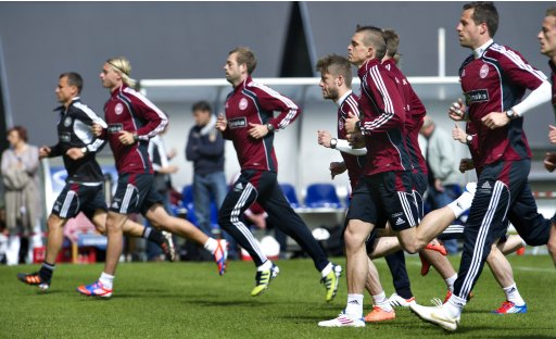 Danish national football team players take part in a training session in Elsinore, north of Copenhagen