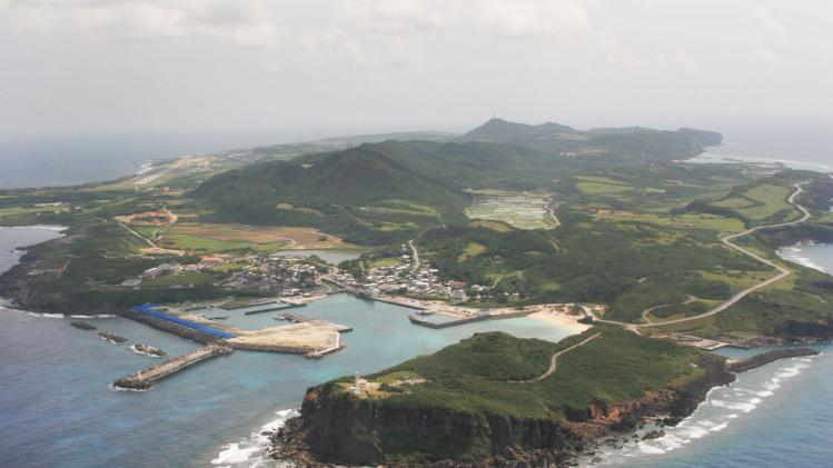 An aerial view shows Yonaguni island, Okinawa prefecture