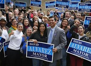 San Diego mayoral candidate David Alvarez at election day rally in San Diego, California
