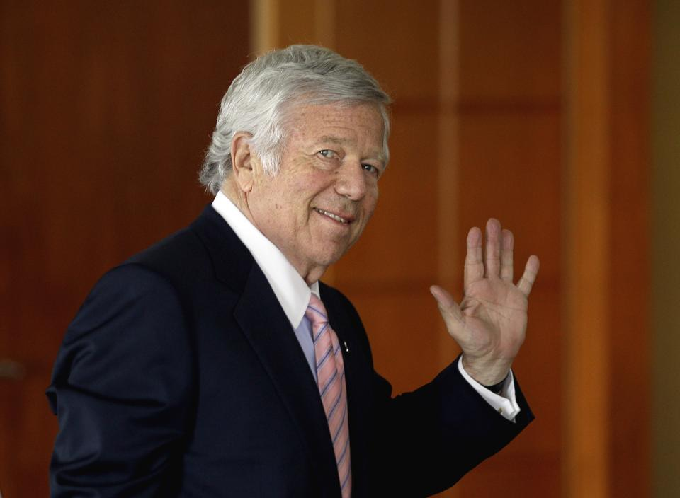New England Patriots owner Robert Kraft leaves an NFL owners meeting Tuesday, May 22, 2012, in Atlanta. (AP Photo/David Goldman)