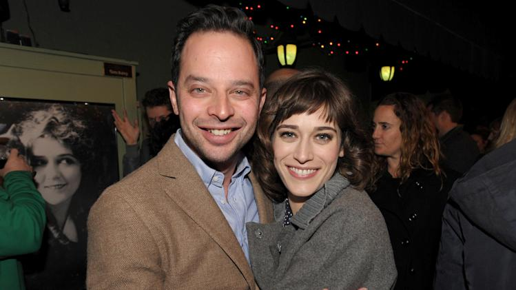 """IMAGE DISTRIBUTED FOR ENTERTAINMENT WEEKLY - Actor/comedian Nick Kroll, left, and actress Lizzy Caplan attend an exclusive screening of Comedy Central's """"Kroll Show"""" hosted by Entertainment Weekly on Tuesday, January 15, 2013 at LA's Silent Movie Theatre in Los Angeles. (Photo by John Shearer/Invision for Entertainment Weekly/AP Images)"""