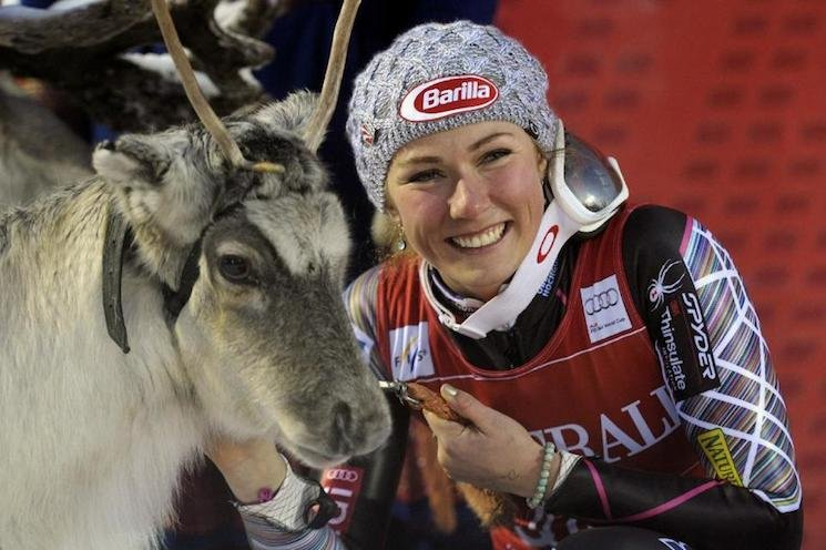 Mikaela Shiffrin poses with her newly won reindeer, Rudolph — AP