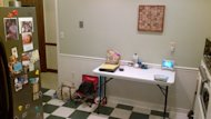 We set up a make-shift table on the blank wall in the old kitchen.