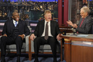 In this photo provided by CBS, Magic Johnson, left, and Larry Bird, center, talk with host David Letterman about their friendship and their rivalry on the court, on the set of Late Show with David Letterman, Wednesday, April 11, 2012, in New York. (AP Photo/CBS, Jeffrey R. Staab) MANDATORY CREDIT ARCHIVE OUT NORTH AMERICAN USE ONLY