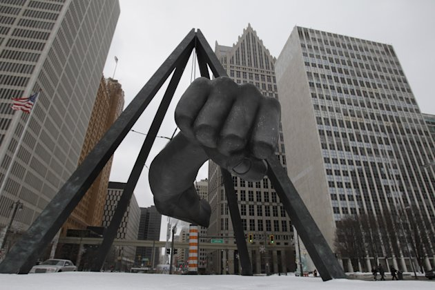 FILE - In this Feb. 7, 2011 file photo is the Monument to Joe Louis in Detroit.  A state-appointed review team Tuesday, Feb. 19, 2013 determined Detroit is in a financial emergency, paving the way for