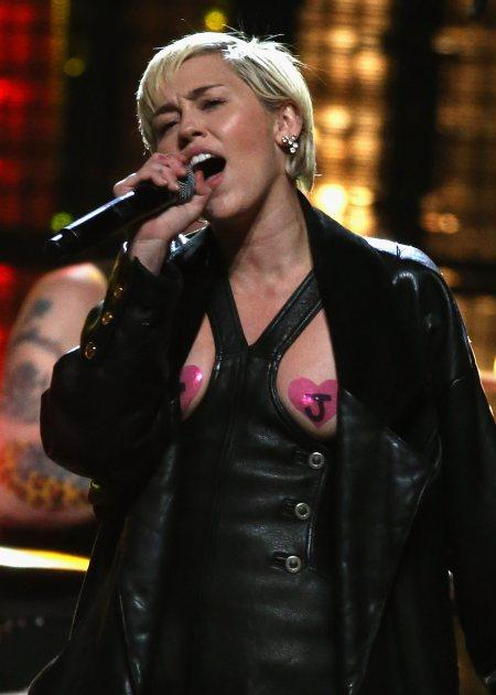 Miley Cyrus Wears Pasties To Honor Joan Jett