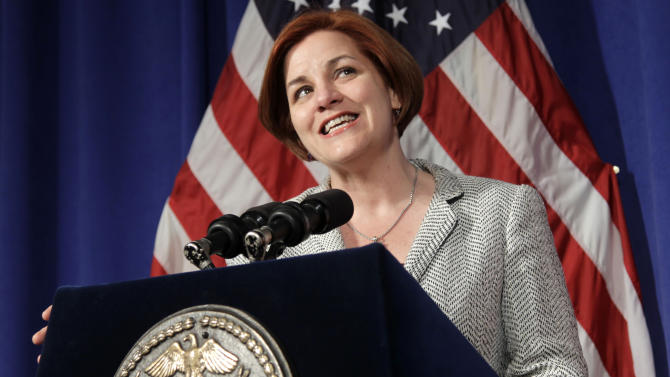 FILE - In this May 9, 2012 file photo, New York City Council Speaker Christine Quinn talks to reporters during a news conference at City Hall in New York. Quinn, a mayoral candidate, could break ground by being the first woman and the first openly gay person to lead the nation's biggest city. But the City Council speaker says she's not focused on potential firsts. (AP Photo/Seth Wenig, File)