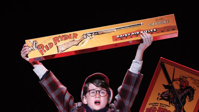 """In this theater image released by Keith Sherman & Associates, Clarke Hallum portrays Ralphie in a scene from """"A Christmas Story, The Musical."""" (AP Photo/Keith Sherman & Associates, Carol Rosegg)"""