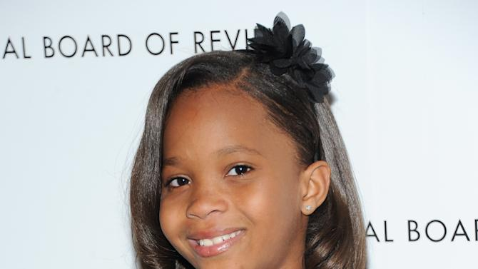 """FILE - This Jan. 8, 2013 file photo shows actress Quvenzhane Wallis at the National Board of Review Awards gala in New York. Wallis was nominated for an Academy Award for best actress on Thursday, Jan. 10, 2013, for her role in the film """"Beasts of the Southern Wild.""""  The 85th Academy Awards will air live on Sunday, Feb. 24, 2013 on ABC. (Photo by Evan Agostini/Invision/AP, file)"""