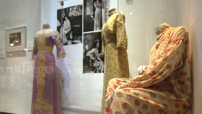 "Three designs by Motley, from the 1962 film ""Long Day's Journey Into Night,"" are shown as part of the ""Katharine Hepburn: Dressed for Stage and Screen"" exhibit in the New York Public Library for the Performing Arts at Lincoln Center,  Tuesday, Oct. 16, 2012. (AP Photo/Richard Drew)"