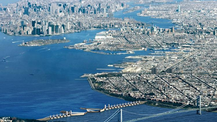This undated image provided by Arcadis shows the Dutch engineering firm's proposal to build a barrier in the Verrazano Narrows between New York's Brooklyn borough and Staten Island, shielding the Upper New York Bay. This barrier would be supplemented by two smaller barriers, one between Staten Island and New Jersey and the other on the East River. The vast destruction wreaked by the storm surge in New York could have been prevented with a sea barrier of the type that protects major cities in Europe, scientists and engineers say. The multibillion price tag of such a project has been a hindrance, but may appear more palatable after the damage from Superstorm Sandy has been tallied. (AP Photo/Arcadis)