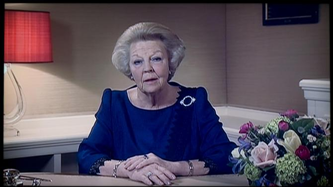Image taken of a TV screen showing Dutch Queen Beatrix announcing she will abdicate April 30, 2014, during a speech prerecorded in The Hague, Netherlands, Monday Jan. 28, 2013. Beatrix, who turns 75 on Thursday, has ruled the nation of 16 million for more than 32 years and would be succeeded by her eldest son, Crown Prince Willem-Alexander. (AP Photo/NOS Television/Peter Dejong)