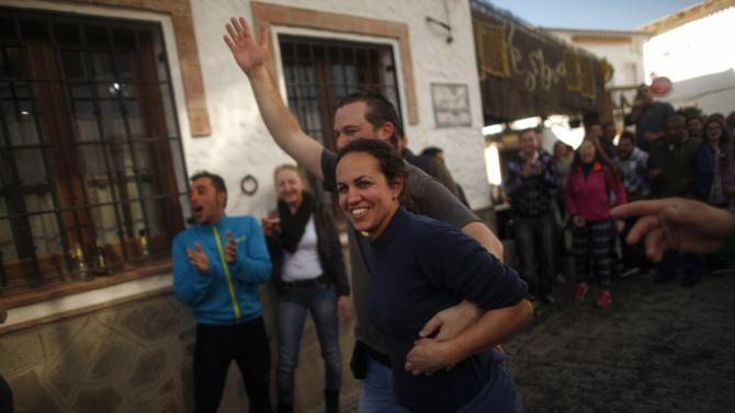 "Winners of Spain's Christmas Lottery ""El Gordo"" celebrate in El Bosque"