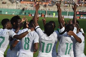 Ivory Coast's national football team players celebrate …