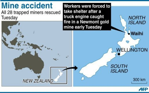 <p>Map locating Waihi mine in New Zealand where 28 miners were rescued on Tuesday after a fire forced them to take shelter in underground refuge chambers</p>