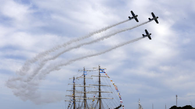 "FILE - In this Jan. 9, 2013 file photo, Argentina's naval training tall ship ARA Libertad arrives to port as planes fly overhead during a ceremony in Mar del Plata, Argentina Ghana courts ordered the ship held in October on a claim by Cayman Islands-based hedge fund NML Capital Ltd. But the U.N.'s International Tribunal for the Law of the Sea ordered the ship's release after Argentina argued that warships are immune from seizure. Judgment day is approaching in an epic battle between Argentina and New York billionaire Paul Singer, who has sent lawyers around the globe trying to force the South American country to pay its defaulted debts. Three U.S. appellate judges will hear oral arguments in New York on Wednesday, Feb. 27, 2013, in the case, NML Capital Ltd. v. Argentina. The case has shaken bond markets, worried bankers, lawyers and diplomats, captivated financial analysts and generated enough ""friend of the court"" briefs to kill a small forest. (AP Photo/Natacha Pisarenko, File)"