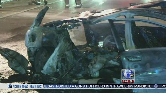 3 injured in fiery crash on I-95 in Wilmington