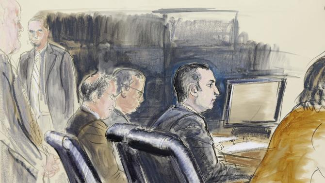 FILE- In this Feb. 25, 2013, courtroom sketch, former New York City Police Officer Gilberto Valle, second right, is seated at federal court in New York.  Currently on trial for kidnapping conspiracy, told investigators after his arrest that his fascination with the idea of cannibalism set him on a downward spiral that was wrecking his personal life, an FBI agent testified Friday, March 1, 2013. (AP Photo/Elizabeth Williams, File)
