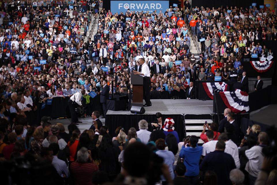 President Barack Obama speaks at a campaign event at Bowling Green State University, Wednesday, Sept. 26, 2012, in Bowling Green, Ohio. (AP Photo/Pablo Martinez Monsivais)
