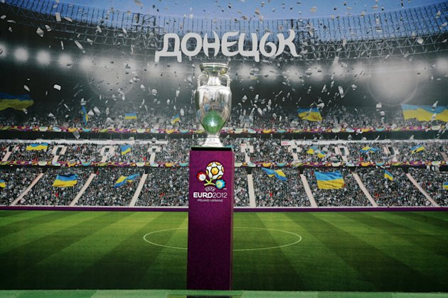 The Euro 2012 Tournament Cup Displayed In The Center Of One Of The Ukrainian Host Cities, Donetsk, Backdropped By A AFP/Getty Images