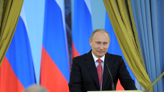 Russian Prime Minister Vladimir Putin speaks at an award presentation ceremony for achievements in culture in Moscow, Saturday, March 3, 2012. (AP Photo/RIA-Novosti, Yana Lapikova, Government Press Service)