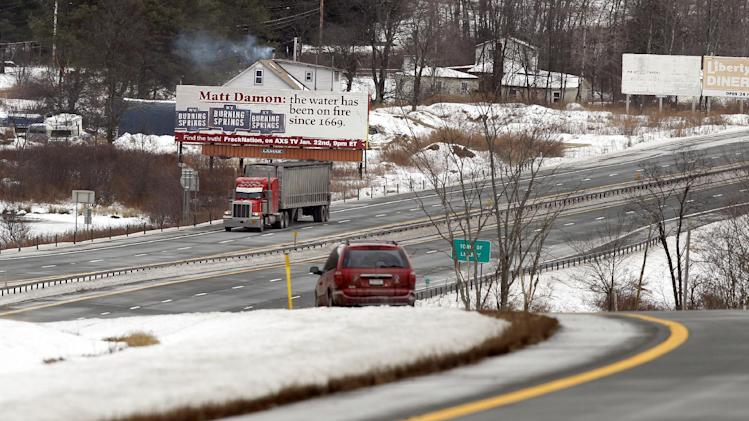 "IMAGE DISTRIBUTED FOR HARD BOILED FILMS, LLC- Matt Damon and his latest Hollywood movie, Promised Land, are under fire on a billboard in upstate New York. The billboard ridicules Damon's anti-fracking premise and its claims that fracking can cause water to light on fire. The billboard was erected by documentary film maker Phelim McAleer, whose pro-fracking film, FrackNation, airs on Tuesday, Jan. 22, 2013 on Mark Cuban's cable television channel, AXS. McAleer said he put the billboard up because he wanted the public to know that there had been flammable water in the United States for at least several centuries before fracking, ""despite misleading information from Hollywood celebrities and environmental activists. (Adam Hunger / AP Images for Hard Boiled Films, LLC)"
