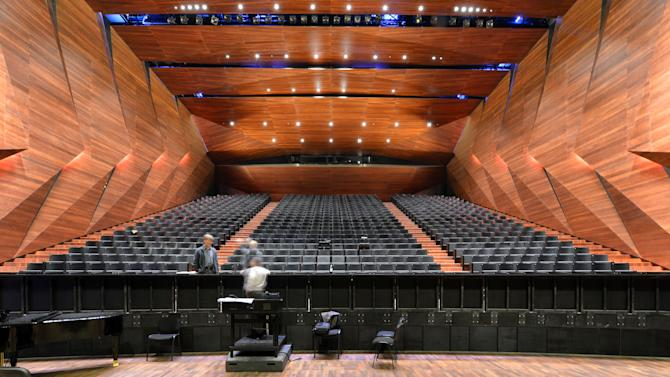 Inside view of the new concert house in Erl , Austria, photographed Tuesday Nov. 20, 2012. Officials in the Tyrolean town of Erl have officially inaugurated the  futuristic concert house that will house Austria's newest music festival, adding to the county's rich palette of classical music events. Erl already has a summer music festival, along with bigger events in Salzburg, Bregenz, and elsewhere. But the new building will also be home to a winter festival that takes place for the first time from Dec. 26 through Jan. 6. Festival director Gustav Kuhn told the Austria Press Agency Tuesday that he expects the winter fest to be 90-percent sold out.  (AP Photo/dapd/ Kerstin Joensson)