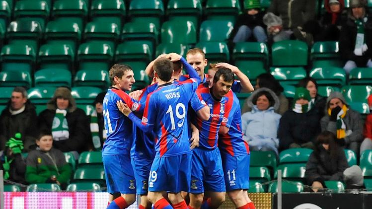 Inverness players celebrate their late equaliser in the Scottish Premier League football match between Celtic and Inverness Caledonian Thistle at Celtic Park, Glasgow, Scotland, on November 27, 2010