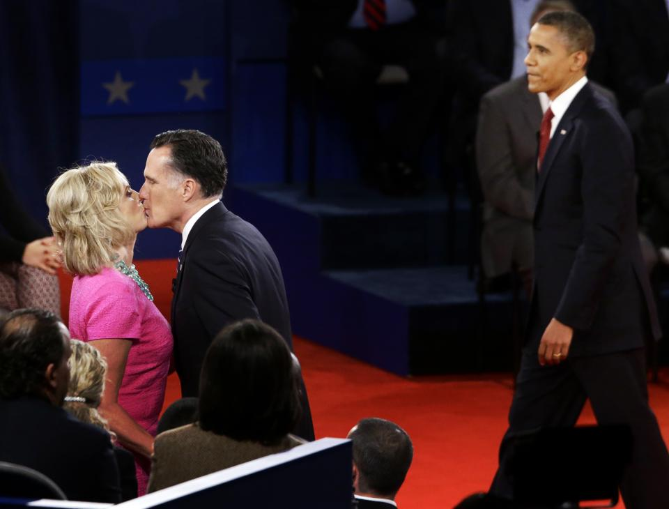 Republican presidential candidate and former Massachusetts Gov. Mitt Romney kisses his wife Ann at the end of the second presidential debate with President Barack Obama at Hofstra University in Hempstead, N.Y., Tuesday, Oct. 16, 2012. (AP Photo/Charles Dharapak)