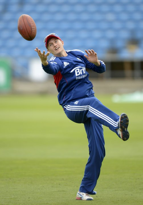 England's Root catches a ball during a training session before the second test cricket match against New Zealand at Headingley cricket ground in Leeds
