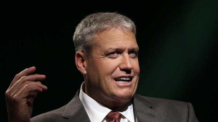 New York Jets NFL football coach Rex Ryan is interviewed in New York, Thursday, July 19, 2012. (AP Photo/Richard Drew)