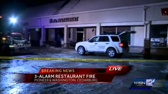 Three-alarm fire in Cedarburg restaurant