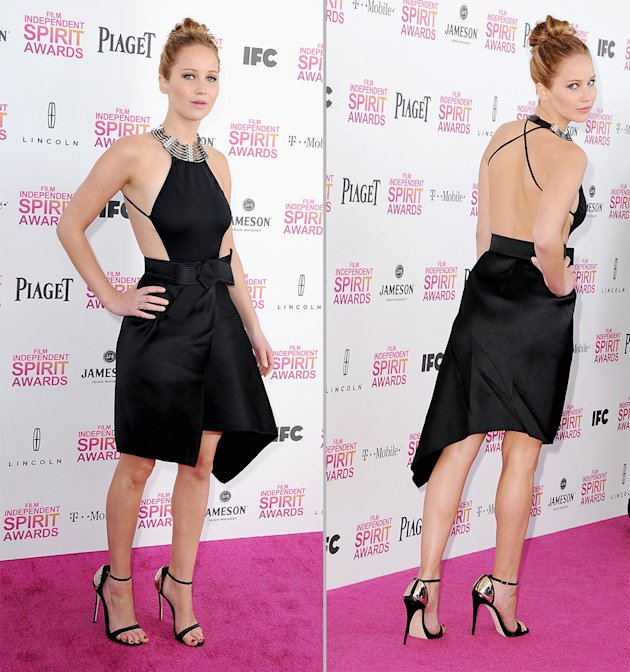 Jennifer Lawrence showed a surprising amount of skin at the Indie Spirit Awards. (Steve Granitz/WireImage)