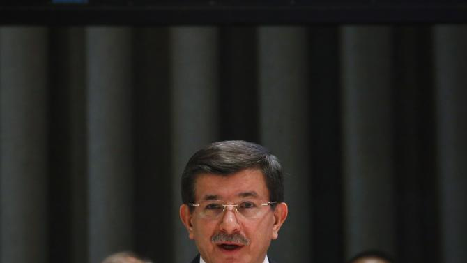 Turkish Prime Minister Ahmet Davutoglu addresses the United Nations General Assembly at the U.N. headquarters in New York