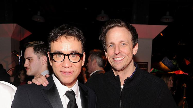 "Fred Armisen and Seth Meyers attend the ""Portlandia"" Season 2 premiere screening at the American Museum of Natural History on January 5, 2012 in New York City."