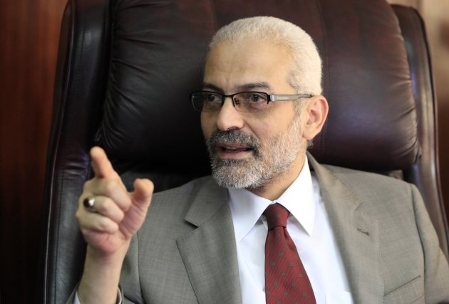 Alaa Abdel Aziz, Egypt's new culture minister, speaks during an interview in Cairo