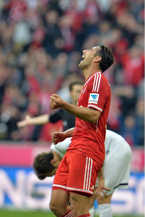 Bayern's Claudio Pizarro of Peru celebrates after scoring during the German first division Bundesliga soccer match between FC Bayern Munich and SC Freiburg in Munich, Germany, on Saturday, Feb. 15