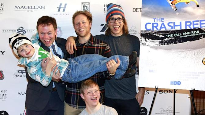 "IMAGE DISTRIBUTED FOR RAND LUXURY - From left, Max Ledyard, Andrew Pearce, Adam Pearce, Kevin Pearce, David Pearce from the film ""The Crash Reel"" are seen at Resorts West House of Luxury, on Monday, Jan. 21, 2013 in Deer Valley, Utah. (Photo by Benjamin Cohen/Invision for Rand Luxury/AP Images)"